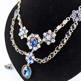 Wholesale Crystal Pendant Fake - Godzgift 3-Colors Women Fashionable Crystal Large Flower Choker Necklace Satin Ribbon Lace Chain Fake Collar Bohemia Necklace Jewelry JN0031