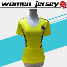 Wholesale Xl Girls - 2018 world cup women Colombia National Team Jersey Colombia Home yellow girl Soccer Jerseys 2018 world cup #10 JAMES female Football Shirt