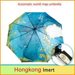 Wholesale Map Fold - Three Elephants Folding Parasols Rain Umbrellas & World Map Oil Painting Umbrella Red Green For Safty men & Women Umbrellas