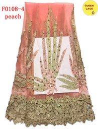 Wholesale Lace Dresses Switzerland - 2016 High quality Embroidery Fabric African Lace Beads Net Lace With Stones Switzerland Lace For Wedding Dresses