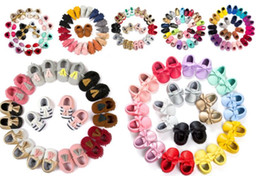 Wholesale Sole Baby Shoes Girl - 12 pairs lot(mix styles and sizes) Wholesale Baby Moccasins Baby Moccs Prewalker Shoes Soft Sole Toddler Moccasins