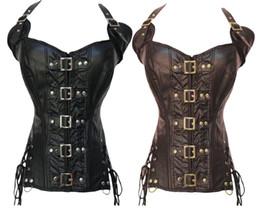 Wholesale Push Up Lingerie Corset - Gothic faux Leather steampunk Corset sexy Straps lingerie waist cincher Bustier Push Up clubwear Costume S-2XL