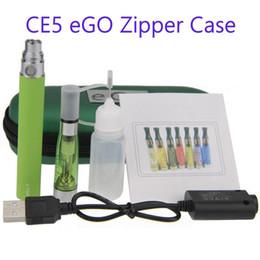 Wholesale Case Ce5 Kit - CE5 eGo-T Single Zipper Case Kit - DHL 50PCs. electronic cigarette CE5 starter Single kits with ce5 atomizer and 650 900 1100mAh ego battery