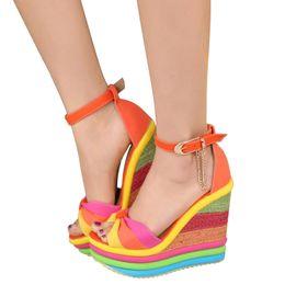 Wholesale Orange Wedge High Heels - Platform Sandal Summer Ladies Shoes Bohemia Rainbow Thick Sole Sponge High Heel Wedge Open Toe Women Sandals