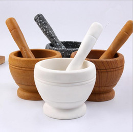 Wholesale Herb Wholesalers - Wooden Garlic Ginger Herb Mixing Grinding Spice Crusher Bowl Mortar and Pestle Coffee Spice Mortar Pestl Grinder Mixing Device OOA2591