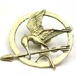 Wholesale Pins Movie - The Hunger Games Mockingjay Pin Hot Movie Bird Brooches for Women and Men 2016 New Fashion Silver Bronze Golden Mix Wholesale 12pcs lot