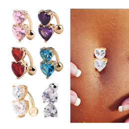 Wholesale Body Piercings - 6 Colors Reverse Crystal Bar Belly Ring Gold Body Piercing Button Navel Two Heart body pierce jewelry