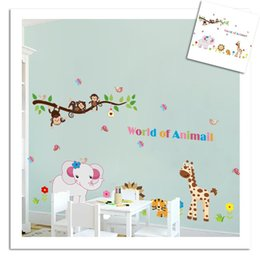 Wholesale Removable Wall Sticker Monkey Tree - 100pcs LA6036 animals wall stickers for kids room decorations ZY9052. zoo adesivo de paredes tree home decals mural tiger giraffe monkey
