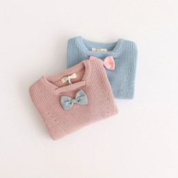 Wholesale Ear Pullover - Girls Sweater Rabbit tail Christmas Kids Clothing 2017 New Warm Autumn Winter Round Neck Long Sleeve Princess Ear Sweaters HX-621