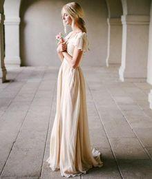 Wholesale Vintage Slim Line Wedding Dresses - Modest Wedding Dress with Flutter Sleeve Slim Fitted Scoop Neck A-line Champagne Vintage Bridal Gowns Outdoor Beach Bride Dresses Simple New