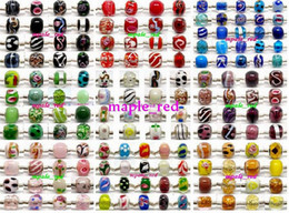 Wholesale Murano Glass Bead Charms - 100pcs mixed 925 Sivler core Murano Glass Beads for Jewelry Making Loose Lampwork Charms DIY Beads for Bracelet Wholesale in Bulk Low Price