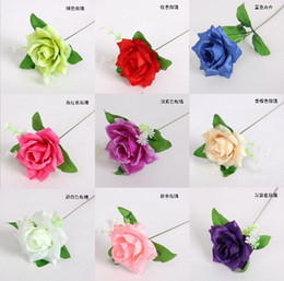 "Wholesale Light Blue Silk Roses - 50pcs 3"" Rose Leaf Rod Artificial Silk Flower For Wedding Bridal Bouquet Home Decoration"