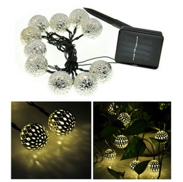 Wholesale Solar Lights Outdoor Wedding - 3.3M 10 Balls Moroccan String Lights Solar outdoor Powered LED Fairy Lights Christmas Trees Decoration Wedding Party LED strip Lamp decor