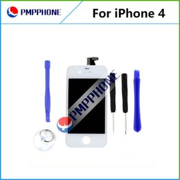 Wholesale Iphone Glass Digitizer White - For iPhone 4 4G White Glass Lcd Display Touch Screen Digitizer & LCD Assembly Replacement & Tools & Freeshipping