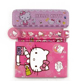 Wholesale Girls Stationery Sets - Wholesale-1 set high quality hello kitty pencil case for girls kawaii children school supplies stationery set cartoon pencil box gift