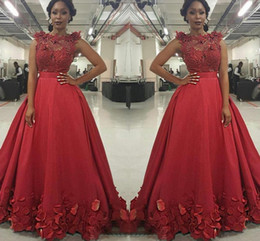 Wholesale Light Yellow Rose Petals - Gorgeous Red Sheer Applique Beads Prom Dresses 2017 Sleeveless A Line Rose Petals Floor Length Evening Gowns South African Party Dresses
