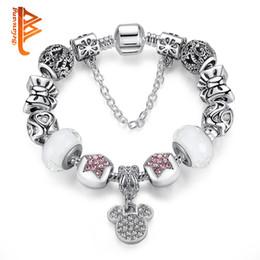 Wholesale Bow Bracelets Leather - BELAWANG Silver Plated Mickey Pendant Bow Star Charm Bracelets For Women White Murano Glass Beads fit Original Bracelets&Bangles DIY Jewelry