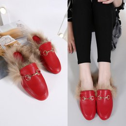 Wholesale Real Women Beach - 2017 Big Size Women Japanese indoor Slippers Velvet Winter Real Fur Slippers Luxury Brand Flat Chain Shoes High Quality Mules Shoes