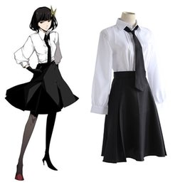 Wholesale Shirts Gloves - Anime Bungo Stray Dogs Detective Agency Member Akiko Yosano Cosplay Costumes Shirt & Skirt & Tie & Gloves School Uniform Suit