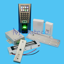 Wholesale magnetic lock access kit - Wholesale- DIY Full Fingerprint Door Access Control System Kit Fingerprint Access Controller +180KG Magnetic Lock + ZL Bracket Wood Door