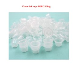 Wholesale Tattoo Supplies Free Shipping Sale - 500PCS LOT Medium Size 12MM White Tattoo Ink cups For Tattoo Gun Needle Ink Tips Grips Kits Supply FREE SHIPPING Hot Sale