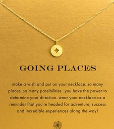 Wholesale Black White Place Cards - With card! cute Dogeared Necklace with Polaris Compass (Going Places) Silver and Gold color, no fade, free shipping and high quality