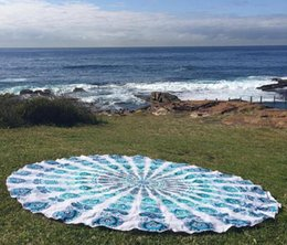 Wholesale Beach Party Table Decorations - New Round Beach Towel Sarong bath towels Party wedding Christmas decorations cotton printed table cloth vintage yoga picnic mat wall decor