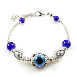Wholesale Turkish Evil Eye Beads Wholesale - Wholesale-Charm Blue Evil Eye Charms Tibetan Silver Bracelets & Bangles Turquoise Beads Turkish Pulseras For Women Fashion Jewelry