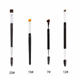 Wholesale Eyebrow Brushes - high quality Duo Brush #12 #7 #15 #20 Makeup Brushes Large Synthetic Duo Brow Eyebrow Makeup Brushes Kit Pinceis Factory Wholesale