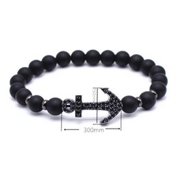 Wholesale Lava Style Unisex - New Style Buddha Bangle Bracelet Men of the brand lava Beads Bracelet Micro Pave CZ Charm Bracelet Black Boat Anchor Men Women