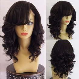 Wholesale Long Wavy Half Wigs - Hot Sale Full Lace Wig Brazilian Virgin Human Hair Wigs Side Part Wavy Lace Front Wig Natural Color Free Shipping