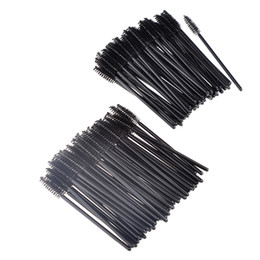 Wholesale Disposable Cosmetic Brushes - Factory sale 50Pcs lot Disposable Spiral Eyelashes Brush Eyebrow Brush Cosmetic Brushes Makeup Mascara Brushes black colors