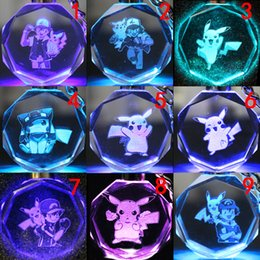 Wholesale Amethyst Silver Ring Men - 100pcs lot poke LED key rings Pokémon glass shiny Pikachu crystal keychains Electronic Key Finder hot sale Shining bright Christmas gifts