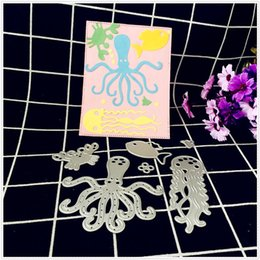 Wholesale Fish Dying - 6pcs Set DIY Octopus Fish Crab Metal Cutting Dies Embossing Stencil Die Craft For Paper Cards Album Scrapbooking Decoration