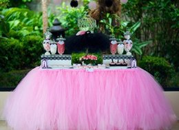 Wholesale Table Skirts Wholesale - Romantic Wedding Table Skirt Tulle TUTU Table Cloths Baby Birthday Celebrate Party Decoration Factory Sales 100x80cm