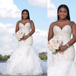 Wholesale Sweetheart Strapless Mermaid Wedding Dresses - Sexy African Beading Mermaid Wedding Dresses Strapless Sweetheart Ruffles Bridal Gowns Custom Made Plus Size Garden Luxury Vestidos De Novia