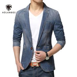 Wholesale Korean Fashion Blazer Men - Wholesale- Denim blazer men slim fit jean suit jacket 2016 new spring korean fashion causal mens blazer jackets trend brand demin suits
