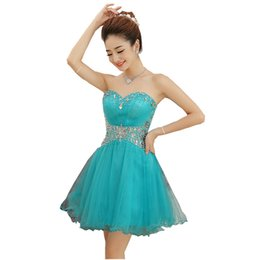 Wholesale Turquoise Cocktail Homecoming Dresses - Short Prom Dresses Cheap 2017 Turquoise Rhinestones Beaded Ruffles Tulle Cocktail Party Dress Real Photo Homecoming Dress