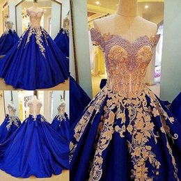 Wholesale Gold Royal Blue Dresses - Vintage Prom Dresses Gold Lace Appliques Royal Blue Evening Gowns Lace Up Back Off The Shoulder Formal Party Vestidos Custom Made