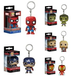 Wholesale Vinyl Figures Pop - Funko POP Marvel Avengers Iron Man Hulk Thor Captain America Game of Doctor Packet Key Chain Pop Vinyl Figure