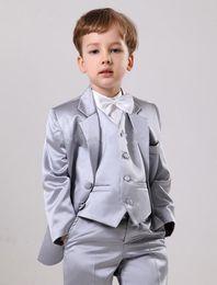 Wholesale Dark Red Vest Wedding Suit - Custom Made Handsome Custom Made Suits Silver Satin Boys' Notch Lapel Boys' Wedding Suits Boy's Formal Wear (Jacket+Vest+Pants)