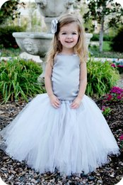 Wholesale Christmas Stocking Images - Cheap In Stock Silver Ball Gowns Flower Girl Dresses Sequin Straps Tulle Floor Length Birthday Party Girl Pageant Dresses MC0209