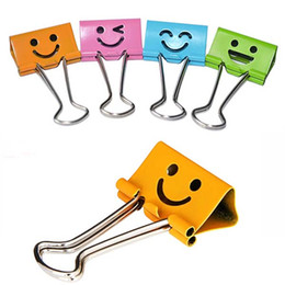 Wholesale Book Clip Notes - 48pcs lot Smile Metal Binder Clips For Notes Letter Paper Books Home Office School 19mm 25mm Clip File Paper Papelaria