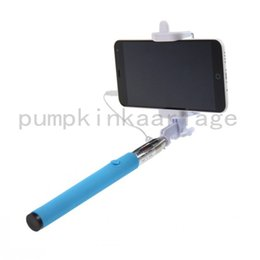 Wholesale Ios Cable Quality - High Quality Extendable Handheld Selfie Stick Audio Cable Wired Selfie For Android 4.2.2 and IOS 5.01