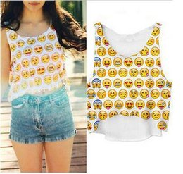 Wholesale Girls Cheap Clothes Free Shipping - Wholesale-Free shipping Newest Top Fashion Summer short Crop tops women 3D QQ Emoji Smile Face Printed Vest Girls Tank cheap clothes H191