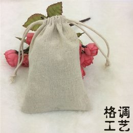Wholesale Natural Fabric Clothing Wholesale - Canvas Drawstring Pouches 100% Natural Cotton Laundry Favor Sundries Holder Fashion Jewelry Pouches 10*15cm 500pcs lot