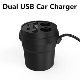 Wholesale Dual Usb Charger Car Holder - Cup Holder Dual USB Car Charger 5V 3.1A Cigarette Lighter Socket Adapter for iphone 6s Samsung S7edge ipad cell phone