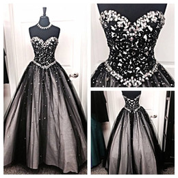 Wholesale Lace Rhinestone Prom Dress - New Black and White Tulle Ball Gown Evening Dresses 2016 Crystal Beaded Rhinestones A Line Lace Up Prom Dresses Runway Red Carpet Dresses