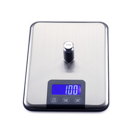 Wholesale Free Diet Foods - 10KG1g Digital Kitchen Scale Slim Stainless Steel 10KG LCD Electronic Diet Food Touch Grams Scales Weight Balance 10pcs lot Free Shipping