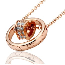 Wholesale Heart Necklaces For Cheap - 18KGP Heart Necklace Pendant Jewelry For Women Best Gift Cheap Jewelry Best Quality Fashion Alloy Crystal Necklace Jewelry Min Order 5pcs